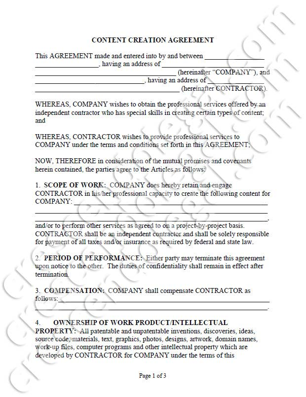 Content Creation Agreement